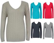 Womens Fitted Cable Knit Jumper Top Winter Warm Slim Bright Sweater
