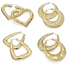 7be683e88 Gold Tone Bamboo Punk Big Hoop Large Circle Earrings Hiphop Women Jewellery  Gift