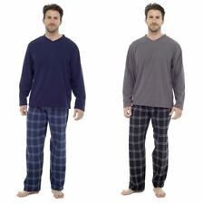 Tom Franks Mens Fleece Pyjama Top with Cotton Flannel Bottoms Charcoal or Blue