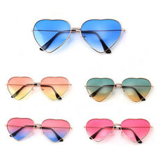 [LOVE Heart Shaped Sunglasses] Retro Women Metal Frame Gradient Eye Glasses US