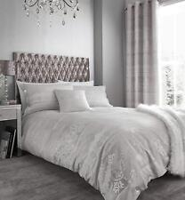 Catherine Lansfield Elegance Jacquard Silver Duvet Cover Set And Accessories