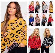 WOMENS LADIES CASUAL LEOPARD PRINT LONG SLEEVE KNITTED JUMPER TOP PLUS SIZE 8-22