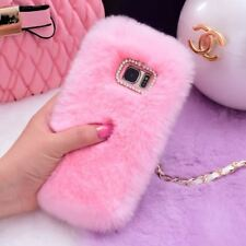Luxury Rabbit Fur Furry Winter Bunny Shell Back Phone Case Cover For Samsung