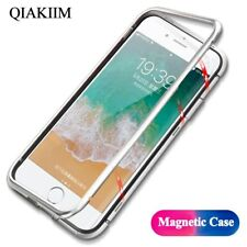 Slim Metal Magnetic Adsorption Bumper Tempered HD Glass Phone Case For iPhone