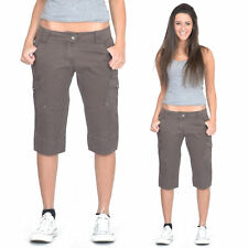 New Womens Brown Lightweight Low Rise Cargo Shorts Cotton Long Combat Shorts
