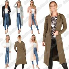 New Ladies Long Sleeve Open Front Long Line Collared Duster Coat Jacket Top 8-14
