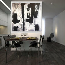 Fashion Simple Black/White Art Hand-painted Abstract Oil Painting Home Decor