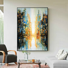 Modern Abstract City Impression Hand Painted Oil Painting Home Decor Art Canvas