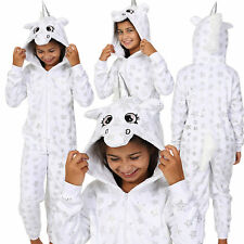 Cosy Girls White Star Print Unicorn Onezee with 3D Horn and Mane, Age 7-14
