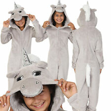 Cosy Girls Grey Sparkle Unicorn Onezee with 3D Horn and Mane, Age 7-14
