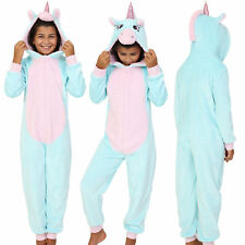 Cosy Girls Aqua/Pink Unicorn Onezee with 3D Horn and Mane, Age 7-14