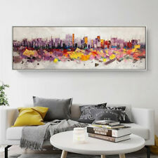 Huge Modern City Landscape Hand Painted Abstract Oil Painting Home Decor Wall