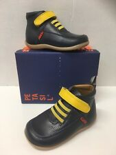 Petasil Anderson Infant Boys Boots In Navy Leather with Yellow (21705)