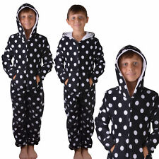 Childrens Girls Boys Black Spot All in One Sleepsuit Onezee Age 9-16