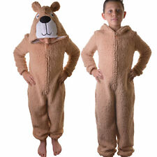 Kids Boys Girls Brown Teddy All in One Onezee Jumpsuit Sleeping Bag, Ages 7-16