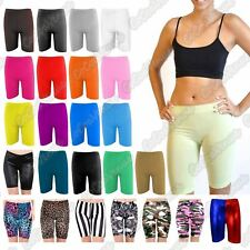 New Ladies Cotton Plain Over Knee Length Shorts Dance Cycling Active Gym Legging