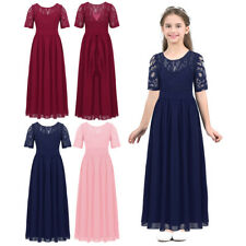 New Lace Short Sleeve Bridesmaid Princess Wedding Girls Dress Party Kids Clothes
