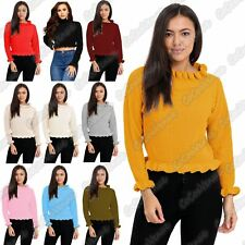 New Ladies Ruffle Frill Hem Knitted Polo Turtle Neck Cropped Jumper Sweater Top