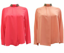PLUS SIZE CURVE LONG SLEEVE EMBELLISHED ROUNDED OPEN SIDE PANEL BLOUSE RRP £35