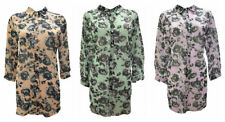 PLUS SIZE CURVE 3/4 CUFFED SLEEVE FLORAL PRINT COLLARED BUTTON UP SHIRT