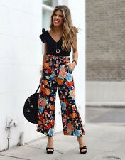 ZARA FLORAL PRINTED CROPPED WIDE LEG TROUSERS CULOTTES PANTS WITH BELT M, XL