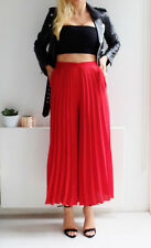 ZARA RED PLEATED CULOTTES CROPPED TROUSERS PANTS M, L