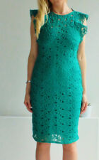 ZARA EMERALD GREEN GUIPURE FRILLED LACE TUBE DRESS XS, S, M, L