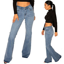 New Mid Rise Blue Faded Flared Bootcut Stretch Jeans Long Leg Frayed Leg Ends