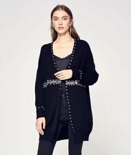 CY BOUTIQUE Crystal stone and sequin embellished long cardigan black color