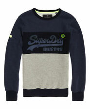 New Mens Superdry Embossed Logo Crew Jumper Plate Grey Grit Premium Style