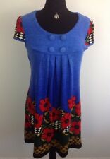IZABEL LONDON MACHINE KNIT, FLORAL SMOCK  TUNIC, DRESS.SIZE 10,12,14,16