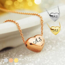 Personalised Name Necklace Plated Heart Pendant ENGRAVED Initial Valentines Gift