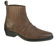 Mens Western Cowboy Ankle Boots Brown Distressed Leather Slip On Gringos