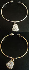 HEART DROP CHARM BANGLE GOLD OR SILVER FOR CHILDREN GIRLS TEENAGERS LADIES