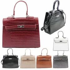 New Ladies Mock Croc Embossed Faux Leather Fashion Tote Bag