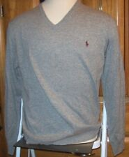 Polo Ralph Lauren V neck pullover sweater heather gray 100% WOOL XL brown pony