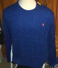 NEW Polo Ralph Lauren Sweater Pullover Crew neck cable knit Blue sz XXL 2XL