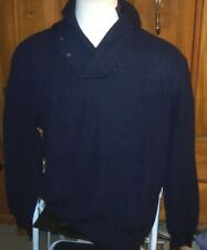 New Polo Ralph Lauren Sweater Pullover Shawl neck cable knit navy blue  XXL 2XL