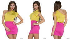 SEXY WOMENS LADIES FASHION ONE SHOULDER MINI DRESS SIZE 12 YELLOW TOP PINK SKIRT