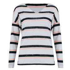Fashion Ladies Striped V-Neck Tunic Loose Pullover Knitwear Blouse white B5 C6D6