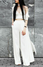 ZARA OFF WHITE BLACK FLOWING PALAZZO HIGHWAISTED TROUSERS PANTS XS S  M, L