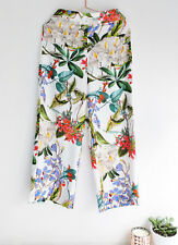 ZARA WHITE FLORAL PRINTED CULOTTES CROPPED TROUSERS PANTS XS, S, L