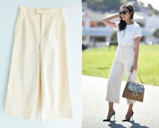 ZARA BEIGE HIGH WAIST COTTON CULOTTES CROPPED TROUSERS PANTS XS S