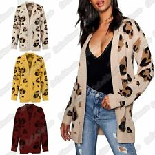 Ladies Leopard Print Knitted Open Front Winter Sweater Cardigan Jumper Coat Top