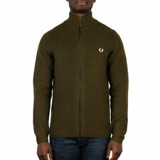 Fred Perry Zip Through Rib Cardigan - Dark Sage