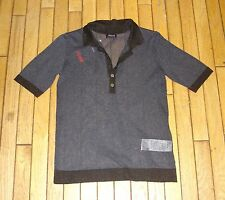 ARMANI JEANS BLUE AND BLACK COLLARED SHORT SLEEVE TOP BNWT