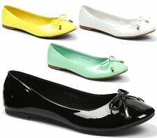 NEW WOMENS LADIES BLACK BALLERINA BALLET DOLLY FLAT PUMPS LOAFER SHOES BOW SIZE