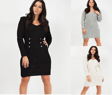 Womens Ladies Button Front Knitted Bodycon Dress Button Front V-Neck Long Sleeve