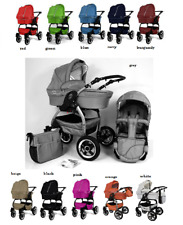 LUCKY New Baby Pram Pushchair 2in1- 11 colours, 3 chassis