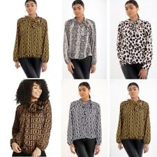 Ladies Animal Fendi Snake Leopard Top Womens Tie Up Pussy Bow Blouse Shirt